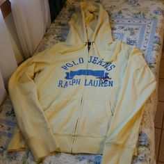 Ralph Lauren Sweat Jacket Yellow with blue lettering. Flowers are embroidered Ralph Lauren Jackets & Coats
