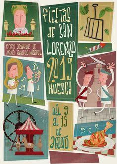 Cartel Fiestas San Lorenzo 2015. Titulo: Pollo al chilindrón, San Lorenzo y su fiestón
