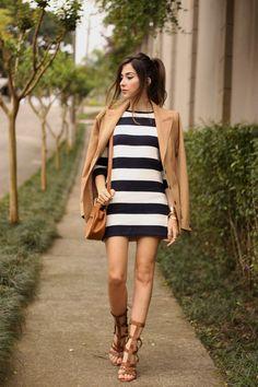 FashionCoolture - 02.10.2015 look du jour Amaro striped dress camel blazer gladiator sandals (1)