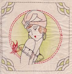 tinted embroidered pillow 1930's