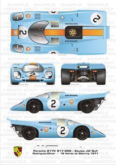 Porsche Sebring 1971 Rodriguez-Oliver by ibsenop on DeviantArt Porsche Carrera, Porsche Panamera, Porsche Autos, Porsche Motorsport, Bmw Autos, Porsche Classic, Classic Cars, Sports Car Racing, Sport Cars