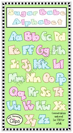 Sugar Babe Alphabet Great for products, printables, and bulletin boards. Creative Lettering, Lettering Styles, Types Of Lettering, Upper And Lowercase Letters, Alphabet And Numbers, Lower Case Letters, Fonte Alphabet, Clip Art Pictures, Letter Art