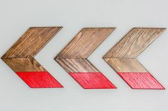 Red Color Dipped Wooden Chevron Arrow Wall by DaydreamsHandmade, $65.00