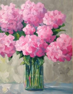 Oil painting - the living art! Hydrangea Painting, Acrylic Painting Flowers, Watercolor Flowers, Watercolor Art, Pink Hydrangea, Hydrangeas, Painting Inspiration, Bunt, Flower Art