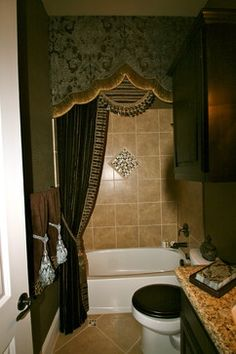 Guest Bathroom, She Wanted An Elegant Drapery As An Alternative To A Shower  Curtain As