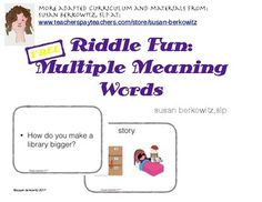FREE Use these riddles with multiple meaning words to help students who have language disorders and who miss the point of jokes or dont understand whats so funny because they lack the flexibility of vocabulary to understand that the answer lies in a multiple meaning word or a homophone or a metaphor.