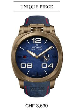 ANONIMO Militare Characteristics: self-winding movement, bronze case Unique features: 16 numeral in small seconds aperture, red number 16 in date display, personalized strap Unique Watches, Models For Sale, Watch Sale, Omega Watch, Bronze, Military, Aperture, Red, Display