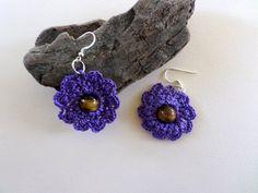Handmade Earrings Crocheted Earrings Tiger's by ArtofCreationNtina
