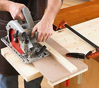 """Cutting on-the-money rabbets for half-lap joints with a portable circular saw and handheld router is a breeze with this two-in-one jig."""