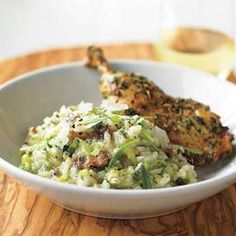 Herbes de Provence Rotisserie Chicken with Leek & Pancetta Risotto with Fines Herbes