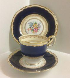 Vintage Crown China Hand Painted English Bone China Tea Set Trio