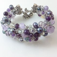 Wire Crocheted Cuff Amethyst, Fluorite, Ametrine, Pearls and Crystals----Aphrodite - pinned by pin4etsy.com