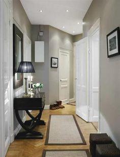 Grey br wn hallway