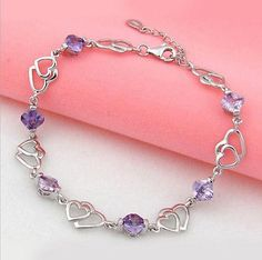 Fashion Jewelry Womens 925 Sterling Silver Heart Crystal Chain Bracelet Bangle - EXCLUSIVE DEAL! BUY NOW ONLY $3.79