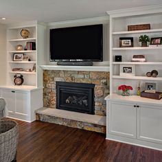 Home fireplace with cabinets, fireplace built ins, fireplace shelves, home fireplac Fireplace With Cabinets, Fireplace Shelves, Fireplace Built Ins, Home Fireplace, Living Room With Fireplace, Fireplace Design, Living Room Decor, Fireplace Ideas, Living Room Ideas Electric Fireplace