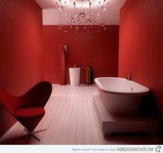 15 Stunningly Hot Red Bathroom Designs | Home Design Lover