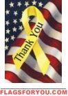 Patriotic Thank You Yellow Ribbon Decorative Garden Size Flag 12 Inch X 18 Inch by Custom Decor Support Our Troops, House Flags, Old Glory, Flag Decor, God Bless America, Veterans Day, Vietnam Veterans, Beautiful Artwork, American Flag