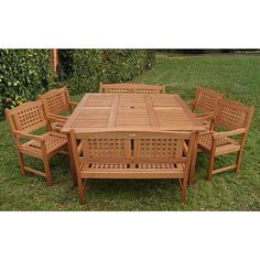 Wow your guests with this lovely wooden outdoor dining set. The Porto outdoor dining set will brighten up your outdoor décor with its lovely Brazilian eucalyptus wood construction. It features ample seating with two benches and four chairs.