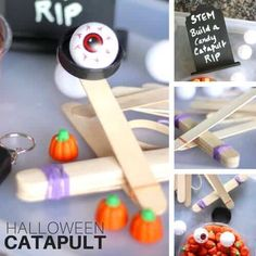 Flinging pumpkins, spiders, and eyeballs! Cool way to explore STEM! Set up a tray of goodies to build this pumpkin catapult for kids. Join us in making this super easy Halloween theme catapult for a cool Halloween STEM activity. It's perfect for our 31 Days of Halloween STEM Countdown! Just a few simple materials and you can set up a super fun experiment and afternoon activity for the kids. Catapult For Kids, Popsicle Stick Catapult, Popsicle Sticks, Halloween Science, Easy Halloween, Halloween Themes, Halloween Activities, Halloween 2019, Science Activities For Kids