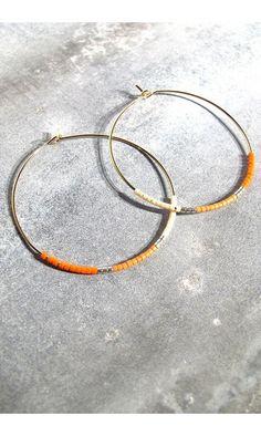 Tassia Canellis créoles corail Maya #earrings #boucles #tassiacanellis #orange #maxi #créoles #creoles #white #jewels #summer #bijoux