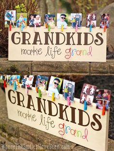 Colorful Grandkids Make Life Grand Wood Sign Photo Display How CUTE! This is such a great gift idea for Grandparent's Day, Mother's Day, Father's Day, Christmas, or anytime! 'Grandkids Make Life Grand' Wood Sign Photo Display Mothers Day Crafts, Crafts For Kids, Crafts For Sale, Mothers Day Ideas, Mothers Day Signs, Mothers Day Presents, Cute Mothers Day Gifts, Mothers Day Decor, Homemade Mothers Day Gifts