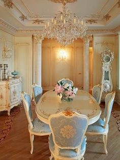 French Provincial furniture gives a highly inspired and very elegant European look to any room. There are some ideas to decorating with French Provincial furniture. Elegant Home Decor, Elegant Dining, Elegant Homes, Shabby Chic Kitchen, Shabby Chic Homes, Decoration Chic, French Provincial Furniture, Luxury Dining Room, Dining Rooms
