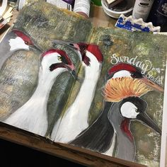 Well the #cranes are finished. And got lots of frustration out in writing tonight. Now to enjoy the rest of .@thestromboshow and do some sketching @strombo #art #sundayinthestudio