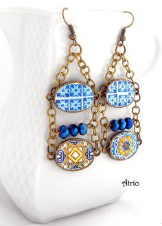 Portugal Antique Azulejo Tile Replica Chandelier Earrings by Atrio