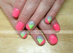 Gelish paradise collection. Neon nails. Pink nails. Abstract nails.