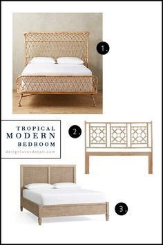 The best natural material beds & headboards! Tropical style rattan, bamboo, caning, etc. Click for product links!
