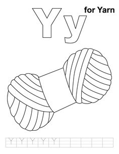 y for yarn coloring page with handwriting practice - Coloring Book Yarns