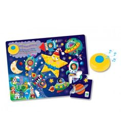 Twinkle Twinkle Little Star! Once you complete this fun 12 piece floor puzzle, place the sound module and sing away! This beautifully illustrated puzzle of Twinkle Twinkle Little Star in space features the lyrics to this favorite nursery song. A simple touch of a button on the sound module and your little ones can sing along! Putting jigsaw puzzles together helps children develop hand-eye coordination, fine motor and problem solving skills. And they can sing along while they do it! Puzzle…
