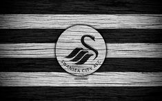 Download wallpapers Swansea City, 4k, Premier League, logo, England, wooden texture, FC Swansea City, soccer, Swansea, football, Swansea City FC