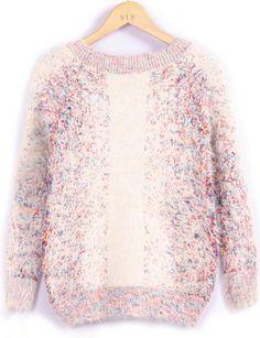 Apricot Long Sleeve Vintage Shaggy Sweater - Sheinside.com