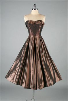 RESERVED ... Vintage 1950s Dress . Metallic Copper . 2968