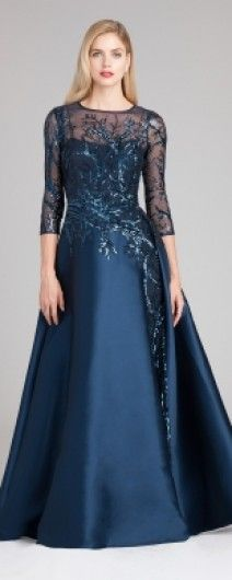 92c6509c276 Beautiful A Line Gown for a Mother of Bride from Teri Jon in Navy Mother Of