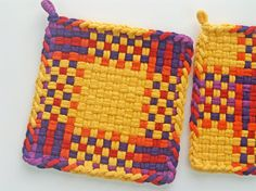 Fabric Potholder Set Woven Cotton Loops Cottage Chic by JemmaJamma