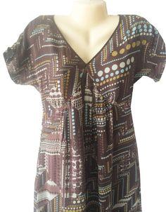 """J. Jill Brown Silk Dress Size 6 Geometric Dots Tiered Lined V Neck 36"""" Bust #JJill #Tiered #Casual"""
