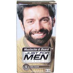 Just for Men Brush-In Color Gel for Mustache, Beard & Sideburns, Jet ...
