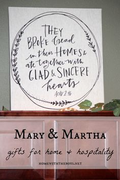 The beauty of the message of Acts 2:46 and a chance for you to shop for meaningful Christmas gifts from Mary & Martha!