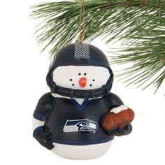 Seattle Seahawks Snowman Football Ornament