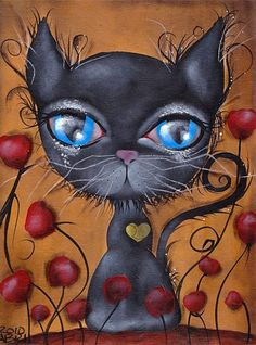 Purple Leopard Boutique - Poker by Abril Andrade Fine Art Print Big Eye Character Black Cat, $24.00 (http://www.purpleleopardboutique.com/poker-by-abril-andrade-fine-art-print-big-eye-character-black-cat/)