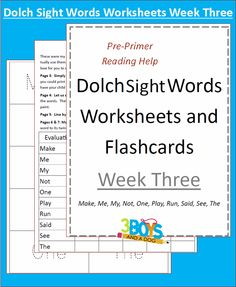 Dolch Site Words Week 3 Dolch Sight Words Worksheets:  Week Three