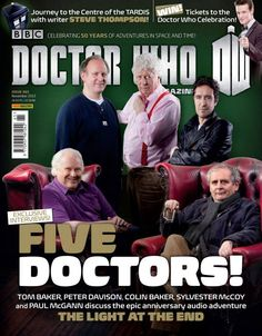 Tom Baker, Peter Davison, Colin Baker, Sylvester McCoy, and Paul McGann on the cover of Nov.'s DW Magazine. Doctor Who Books, Doctor Who Craft, Doctor Who Quotes, Doctor Stuff, Fifth Doctor, Eleventh Doctor, 12 Doctor, Doctor Who Magazine, Colin Baker