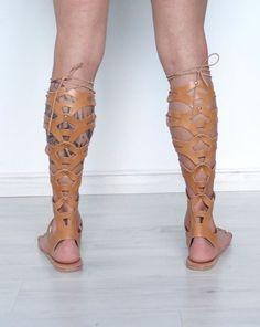 sandalias de gladiador alto de rodilla de cuero para por gothspecks