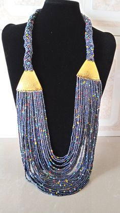 4 Strand layered beaded massai neckpiece