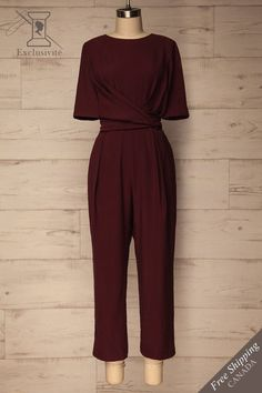 Yolet Burgundy Pleated Jumpsuit with Tied Waist Pleated Jumpsuit, Jumpsuit Outfit, Hijab Fashion, Girl Fashion, Fashion Dresses, Fashion Goth, Classy Outfits, Casual Outfits, Robes D'inspiration Vintage