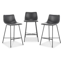 Poly and Bark Paxton 24 in. Grey Counter Stool (Set of - The Home Depot Brown Bar Stools, Cool Bar Stools, Counter Stools, Bar Furniture, Shabby Chic Furniture, Stool Height, Stools With Backs, Chairs For Small Spaces, Modern Restaurant