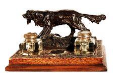 19th c. Bronze Houndog Crystal Oak Inkwell w/ Ink Jars