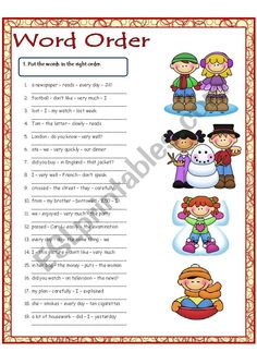 Word Order - ESL worksheet by Krümel Teaching English Grammar, English Writing Skills, English Reading, English Vocabulary, English Worksheets For Kids, English Lessons For Kids, Word Order, Types Of Sentences Worksheet, 1st Grade Math Worksheets